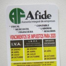 Coleccionismo Calendarios: CALENDARIO AFIDE 2020. Lote 186405461