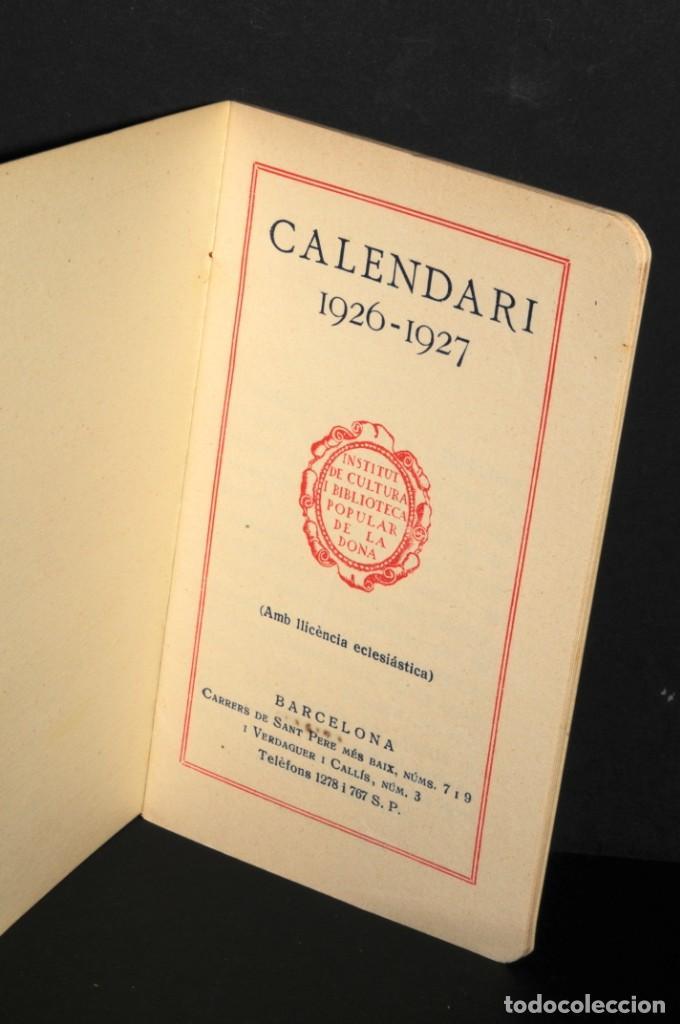 Coleccionismo Calendarios: CALENDARI DEL INSTITUT DE CULTURA POPULAR DE LA DONA. Almanaque 1926-1927 - Foto 2 - 190456505