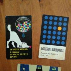 Coleccionismo Calendarios: 3 CALENDARIOS LOTERIA NACIONAL AÑO 1967 - 1968 Y 1969. Lote 192063720