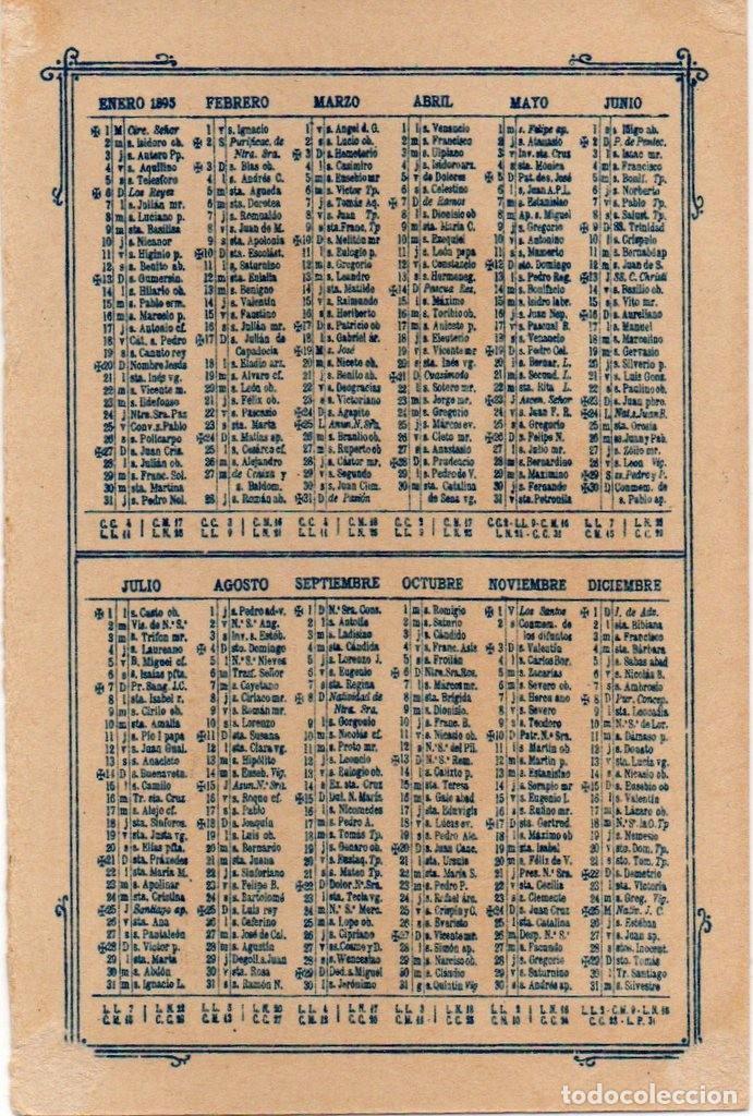 Coleccionismo Calendarios: ANTIGUO Y PRECIOSO CALENDARIO -AÑO 1895 - Foto 2 - 192117680