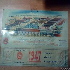 Coleccionismo Calendarios: CALENDARIO MURAL PUBLICIDAD PALOMINO AND VERGARA SL - VINOS - AGENTE DE MARTORELLAS RICCA 1947. Lote 192590322