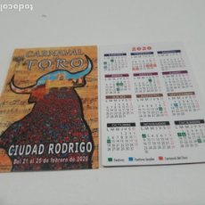 Coleccionismo Calendarios: CALENDARIO PUBLICITARIO. CARNAVAL DEL TORO. CIUDAD RODRIGO. SALAMANCA. AÑO 2020. Lote 194240203