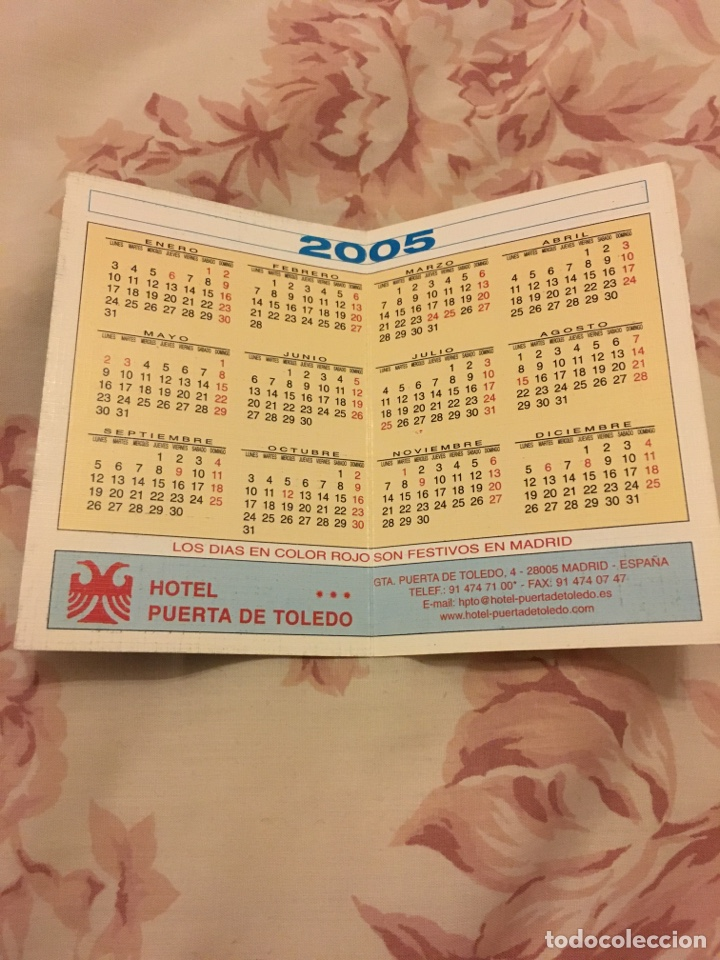 Coleccionismo Calendarios: Calendario doble HOTEL PUERTA DE TOLEDO 2005 - Foto 2 - 194250296