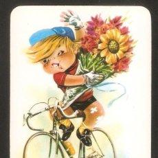 Coleccionismo Calendarios: CALENDARIO DE BOLSILLO AÑO 1973 DIBUJO - DEPORTES - CICLISMO - SIN PUBLICIDAD - VER FOTO REVERSO. Lote 194263312