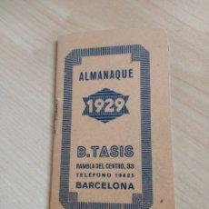 Coleccionismo Calendarios: ALMANAQUE DEL 1929. B. TASIS. LITOGRAFÍA, IMPRENTA.. Lote 194280886