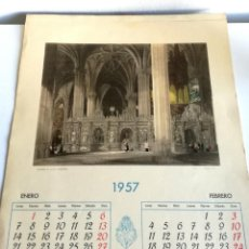 Coleccionismo Calendarios: ANTIGUO GRAN CALENDARIOS 42 CM ALMANAQUES PARED CAJA AHORROS MONTE PIEDAD MADRID 1957 . Lote 194576333