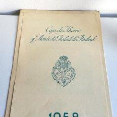 Coleccionismo Calendarios: ANTIGUO GRAN CALENDARIO 45 CM ALMANAQUE PARED CAJA AHORROS MONTE PIEDAD MADRID 1958. Lote 194584348