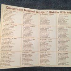 Coleccionismo Calendarios: CAMPEONATO NACIONAL DE LIGA 1 DIVISIÓN 1976/77 BANCO DE VALLADOLID. Lote 194666232