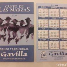 Coleccionismo Calendarios: CALENDARIO PUBLICITARIO. GRUPO TRADICIONAL GAVILLA. AÑO 2020 . Lote 194684535