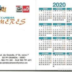 Coleccionismo Calendarios: CALENDARIO PUBLICITARIO. RECAMBIOS MERES. GRANDA - SIERO. ASTURIAS. AÑO 2020. Lote 194733732