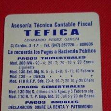 Coleccionismo Calendarios: CALENDARIO PUBLICIDAD ASESORÍA TÉCNICA CONTABLE TEFICA DE BURGOS AÑO 1987. Lote 194935893