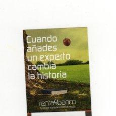 Coleccionismo Calendarios: CALENDARIO BOLSILLO - RENTA4 BANCO - AÑO 2020. Lote 195225010