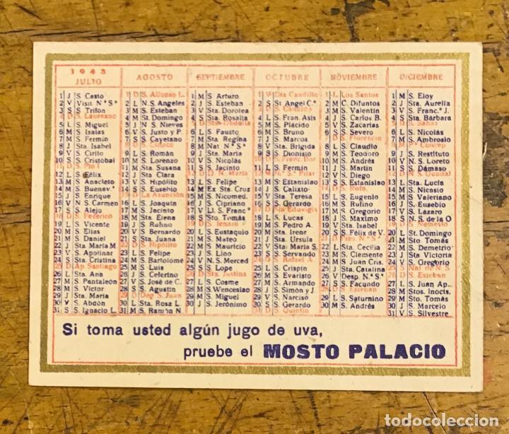 Coleccionismo Calendarios: MOSTO PALACIO, CALENDARIO DE BOLSILLO 1943 - Foto 2 - 195361688