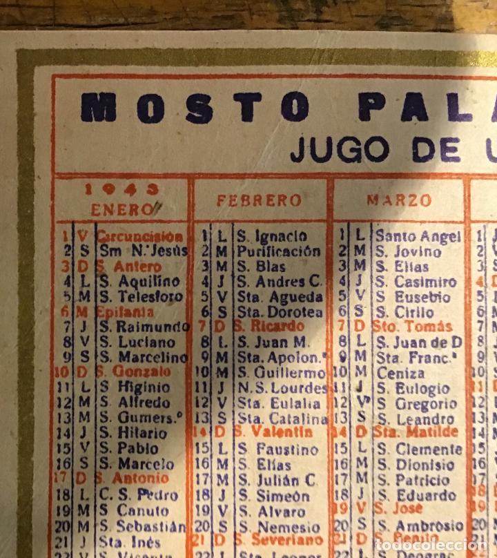 Coleccionismo Calendarios: MOSTO PALACIO, CALENDARIO DE BOLSILLO 1943 - Foto 3 - 195361688