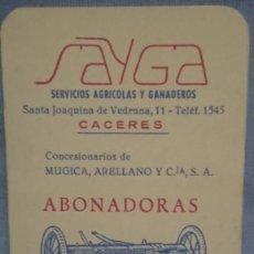 Coleccionismo Calendarios: CALENDARIO SAYGA SERVICIOS AGRÍCOLAS Y GANADEROS AÑO 1965. Lote 198646368