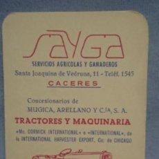 Coleccionismo Calendarios: CALENDARIO SAYGA SERVICIOS AGRÍCOLAS Y GANADEROS AÑO 1965. Lote 198646458