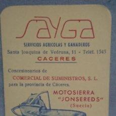 Coleccionismo Calendarios: CALENDARIO SAYGA SERVICIOS AGRÍCOLAS Y GANADEROS AÑO 1965. Lote 198646556