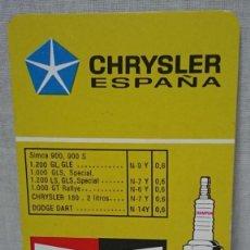 Coleccionismo Calendarios: CALENDARIO FOURNIER CHRYSLER ESPAÑA CHAMPION AÑO 1976. Lote 198816852