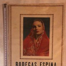 Coleccionismo Calendarios: CALENDARIO 1952 BODEGAS ESPINA. BOLULLOS DEL CONDADO. Lote 201167951