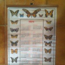 Coleccionismo Calendarios: PRECIOSO CALENDARIO 1971 TELA DE RASO ESTAMPADO MARIPOSAS PUBLICIDAD COLORTEX COLORSOL ONTENIENTE. Lote 204320436
