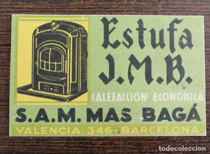 TARJETA - ESTUFA J.M.B -S.A.M MAS BAGÁ- 8 X 5 CM (Coleccionismo - Calendarios)