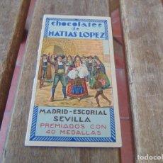 Coleccionismo Calendarios: CALENDARIO CHOCOLATES MATIAS LOPEZ MADRID ESCORIAL SEVILLA AÑO 1935. Lote 210738905