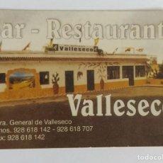 """Coleccionismo Calendarios: CALENDARIO PUBLICIDAD DE BAR- RESTAURANTE """"VALLESECO"""" DEL MUNICIPIO GRANCANARIO DE VALLESECO. 2002. Lote 211731174"""