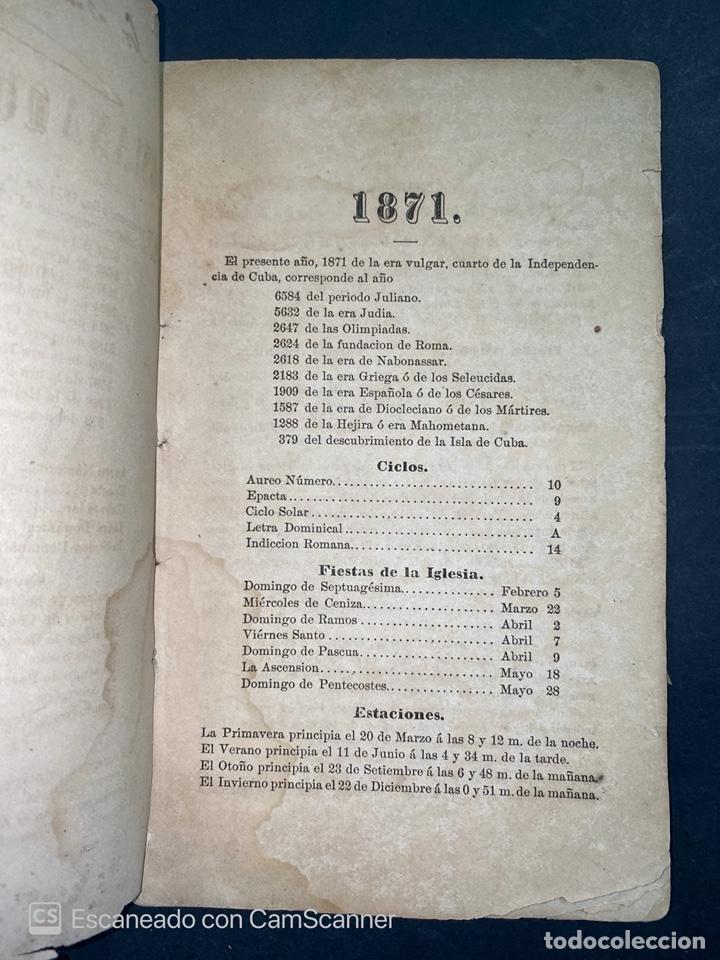 Coleccionismo Calendarios: ALMANAQUE CUBANO. 1871. NUEVA YORK. IMPRENTA HALLET Y BREEN. VER TODAS LAS FOTOS. - Foto 2 - 215989261