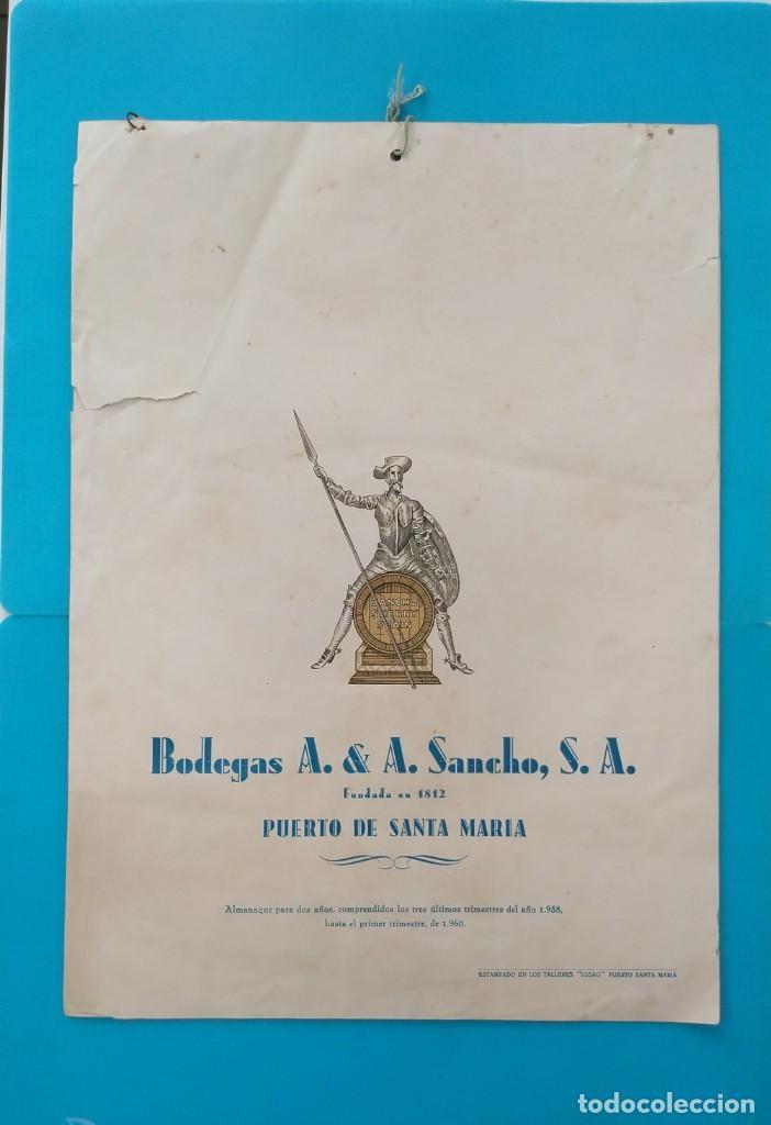 GRAN CALENDARIO DE BODEGAS A&A SANCHO, PUERTO DE SANTAMARIA, 1958, COÑAC MAJESTAD, AMONTILLADO (Coleccionismo - Calendarios)
