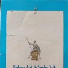 Coleccionismo Calendarios: GRAN CALENDARIO DE BODEGAS A&A SANCHO, PUERTO DE SANTAMARIA, 1958, COÑAC MAJESTAD, AMONTILLADO. Lote 218042071