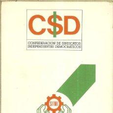 Coleccionismo Calendarios: CALENDARIO PUBLICIDAD - 1987 - CSID - SINDICATO INDEPENDIENTE TRABAJADORES MOTOR IBÉRICA. Lote 218242358