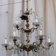 Coleccionismo Calendarios: LAMPARA DE TECHO ANTIGUA BRONCE Y CRISTAL. Lote 218351616