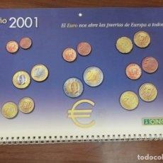 Coleccionismo Calendarios: CALENDARIO DE PARED 2001 ONCE CON MONEDAS IMPRESAS EN RELIEVE Y PROTECTORES CON ESCRITOS EN BRAILLE. Lote 219277153