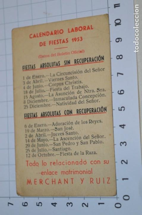 Coleccionismo Calendarios: MÁLAGA 1953 / Antiguo CALENDARIO LABORAL de Fiestas 1953 ¡Muy difícil, mira fotos/detalles! - Foto 2 - 220426168