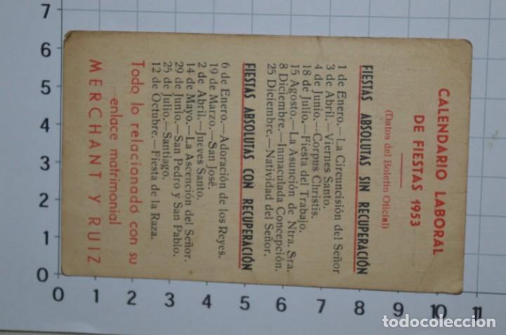 Coleccionismo Calendarios: MÁLAGA 1953 / Antiguo CALENDARIO LABORAL de Fiestas 1953 ¡Muy difícil, mira fotos/detalles! - Foto 4 - 220426168