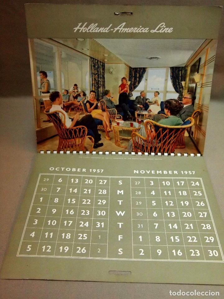 CALENDARIO DE PARED, 1957, HOLLAND - AMERICA LINE, MEDIDAS: 30 X 25 CM (Coleccionismo - Calendarios)