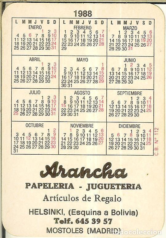 Coleccionismo Calendarios: CALENDARIO DE SERIE DIBUJO - 1988 - C.B. Nº 112 - Publicidad de Móstoles - Foto 2 - 222710501