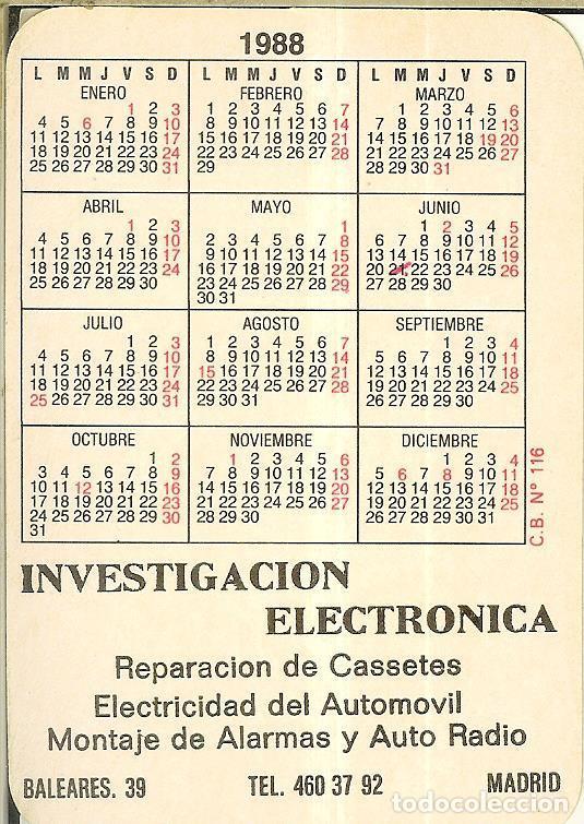 Coleccionismo Calendarios: CALENDARIO DE SERIE - 1988 - C.B. Nº 116 - Foto 2 - 222711337