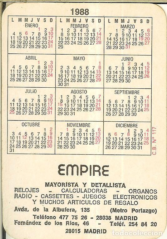 Coleccionismo Calendarios: CALENDARIO DE SERIE FÚTBOL - 1988 - C.B. Nº 117 - ATLÉTICO DE MADRID - Foto 2 - 222711716