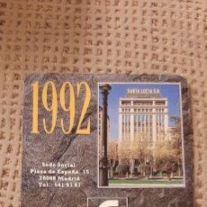Coleccionismo Calendarios: FOURNIER 1992 SEGUROS SANTA LUCIA. Lote 232753520