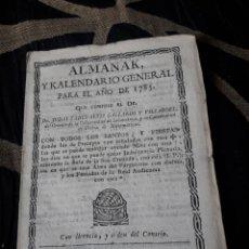 Coleccionismo Calendarios: ALMANAK Y CALENDARIO GENERAL PARA 1785. Lote 238607240