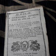 Coleccionismo Calendarios: ALMANAK Y CALENDARIO GENERAL PARA 1787. Lote 238607675