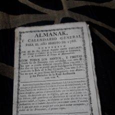 Coleccionismo Calendarios: ALMANAK Y CALENDARIO GENERAL PARA 1788. Lote 238608155