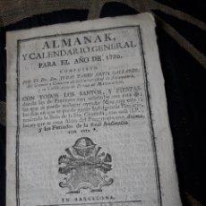 Coleccionismo Calendarios: ALMANAK Y CALENDARIO GENERAL PARA 1790. Lote 238609015