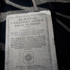 Coleccionismo Calendarios: ALMANAK Y CALENDARIO GENERAL PARA 1792. Lote 238609660
