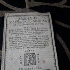 Coleccionismo Calendarios: ALMANAK Y CALENDARIO GENERAL PARA 1796,AÑO BISIESTO. Lote 238611310