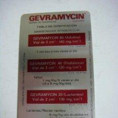 Coleccionismo Calendarios: CALENDARIO METALICO DE GEVRAMYCIN AÑO 1976. Lote 244619345