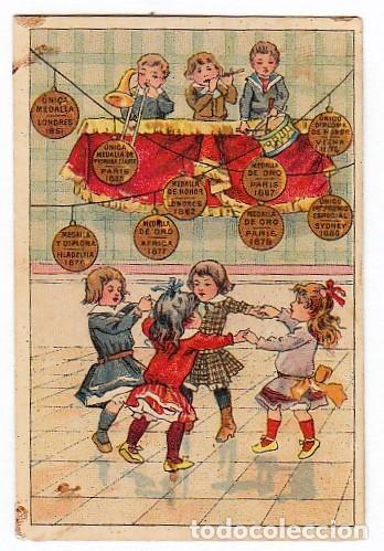 CURIOSO CALENDARIO SEMESTRAL. NIÑAS BAILANDO. HILO DE ALGODÓN PARA COSER. 1890 AA (Coleccionismo - Calendarios)