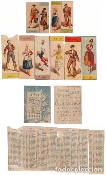 LOTE CHOCOLATES JUNCOSA 10 PERSONAJES ÓPERA CARMEN TRASERA CALENDARIO INCOMPLETO 1890 AA (Coleccionismo - Calendarios)