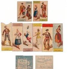 Coleccionismo Calendarios: LOTE CHOCOLATES JUNCOSA 10 PERSONAJES ÓPERA CARMEN TRASERA CALENDARIO INCOMPLETO 1890 AA. Lote 245366420